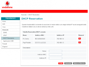 dhcp nuovo firmware Vodafone Station